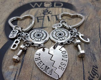 Couple Keychain Thelma & Louise Strong Woman FitPlate,Dumbbell,Initials.Best Friends,Fitness Gift,Couples,Fitness Jewelry,BBF Gift,Cross fit