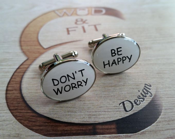 Cufflinks Play Hard Work Hard/ Don't Worry Be Happy Coach Gift, Motivational, Bodybuilding, Dad Gift,Father Gift,Fitness, Bodybuilder,Wod