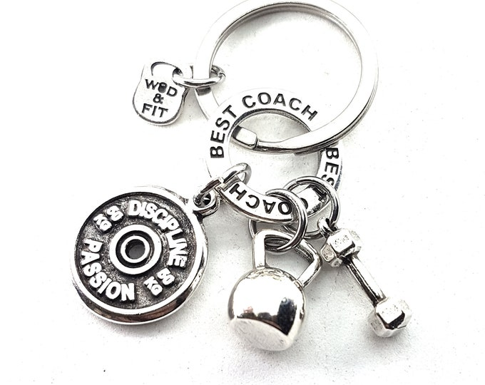 Keychain AMRAP Kettlebell Workout,Dumbbell,Gym,Weight lifting Fitness Jewelry Bodybuilding,FitGirl FitMom,Motivational Gift CrossTraining