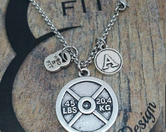 Necklace Weight Plate & Initial Fitness Workout,Fitmom Bodybuilding,Gym,Personalized,Sport,Custom necklace,Coach Gift,Crosstraining Jewelry