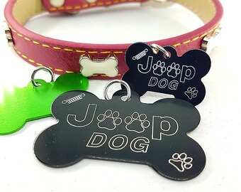 Dog Aluminum Bone 10 colors with your personal Message - Jeepsy -Name - Draw- Coordinates Identification - Dog - Bone Tags - Jeep Bone Dog