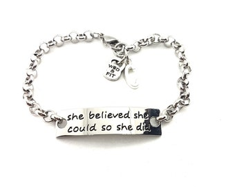 Bracelet Motivation She Believed She Could So She Did your Initial Leter.Personalized,Fitness,Bodybuilding,Gym,Fitmom,Fit girl Sport Cross