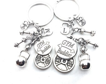 Couple Keychain Gym Buddies & Weight Plate 45lbs+25lbs,Fitness Jewelry,Gym Gift,Couples Gift,Bodybuilding,Fitness,Gym Partner,BFF Gift,Sport