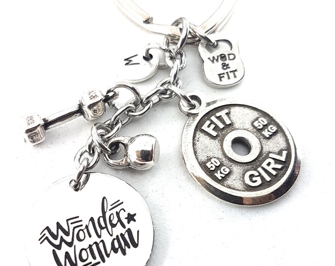 Keychain Wonder Woman FitPlate 50kg Workout,Initial,Kettlebell,Dumbbell,Motivational Gift,Gym jewelry,Fitmom,Fit Girl,Bodybuilding,Crossfit