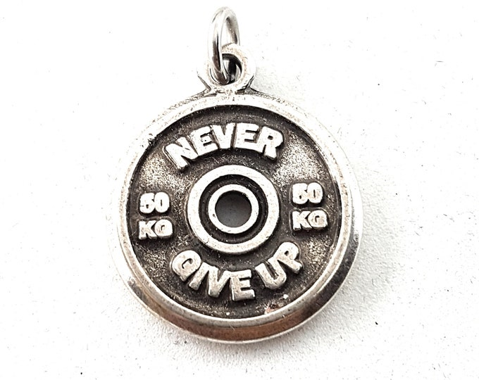 FitPlate Pendent Motivational Weight Plates 50kg,Bodybuilding,Fitness Jewelry,Gym,CrossFit Gift,Weightlifting,Coach Gift,Bodybuilder Jewels