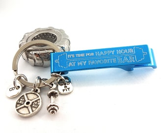 Keychain It's Time for Happy Hour At my Favorite BAR - Initial Gym Gift - Bodybuilder - Crossfiter - Love Beer - Fitness - Custom Keychain