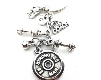 Keychain Strong Man,Dumbbell,Kettlebell Motivation & Initial.Bodybuilding,Fitness Gift,Crossfit Gift,Weightlifter,Gym Gift,Motivational Gift