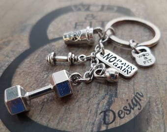 Keychain Dumbbell Hex,Coffee Workout Dumbbell,Barbell Kettlebell & Motivation,Bodybuilding jewelry,Crosstraining Jewelry,Fitness Gift,Gym