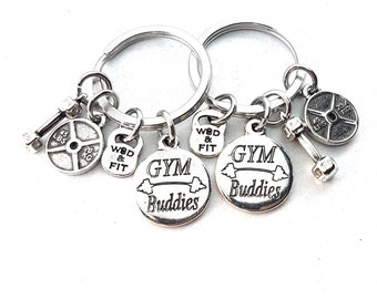 Couple Keychain GYM Buddies,Dumbbell,Weight Plate.Custumize BFF Gift,Fitness,Gym Friends,Best Friends Gift,Gym Buddies Gift,Valentine's Day