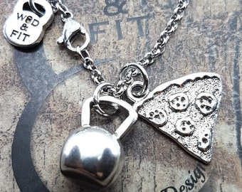 Necklace Fitness Weight Pizza Snatches two Passions Pizza & Weight.Fitness Gift,Kettlebell,Bodybuilding Jewelry,Sport,Crosstraining Gift,