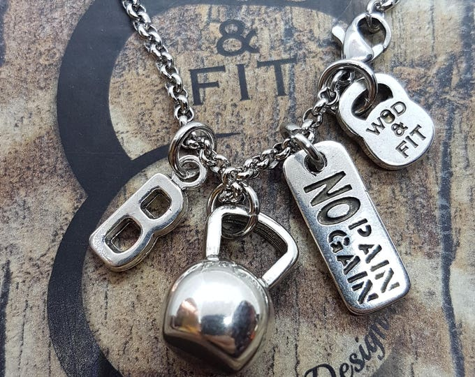 Kettlebell Necklace Kettlebell Tabata Workout Motivation & Initial Letter.Sport Fitness,Weightlifting,Bodybuilding Fitmom Gift Personalized