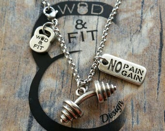 Necklace Bent Barbell Deadlift Workout & Motivational Word Bodybuilding,Gym,Weight Lifting Coach gift,Unisex gift,Fitmom Gift Exercise Cross