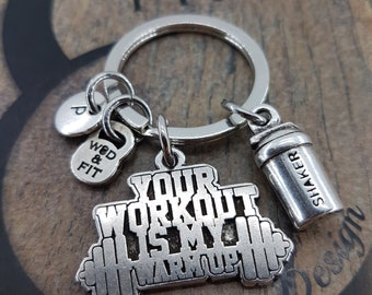 Keyringn Shaker Bottle Workout & Motivational FitPlate Initial Fitness Jewelry,Bodybuilding Gift,Coach Gift,Crosstraining,Gym Gifts,FitGirl