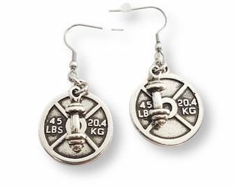 Gym Earrings Weight Plate 45 lbs & Barbell - Pendientes Fitness - Weight Lifting - Barbell Earrings - Crossfit Girl Earrings - Bodybuilding