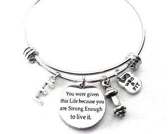 Bracelet You were given this Life because you are Strong Enough to live it,Dumbbell & Initial.Fitness,Bodybuilding,Live Motivation,BFF Gift