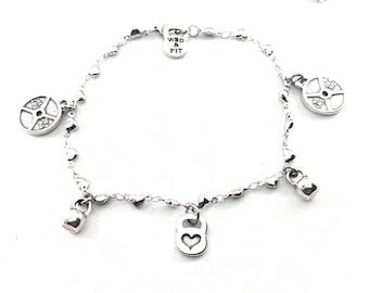 Gym Bracelet Kettlebell Heart Workout Gift - Fitness Bracelet - Valentine gift - Wife gift - mothers day - Fit Girl Bracelet- Love Gym Gift