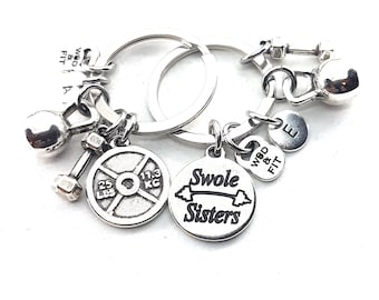 Couple Keychain Swole Sisters & Weight Plate 25lbs+25lbs Initial.Kettlebell,Fitness,BFF Gift,Crossfit,Couples Gift,Bodybuilding,Sisters Gift