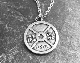 Custom Gym Weight Plate 45lbs Necklace - Workout Gift - Bodybuilding - Weight Lifting- Name Gift -Fitness Gifts- Gym Trainer Gift -Wod & Fit