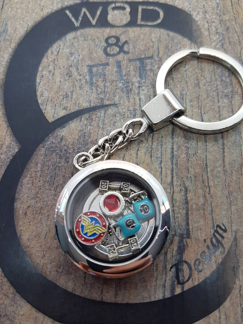 Living Locked Keychain Beast Man-Workout Customize your keychain with your story.Living Locket Fitness-Sport Floating Charms-Floating Locket