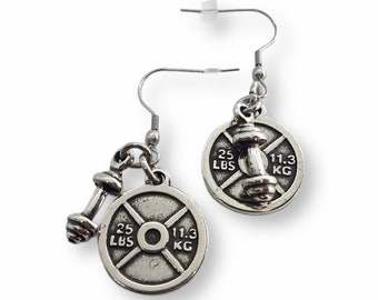 Gym Earrings Weight Plate 25lbs & Barbell - Pendientes Fitness - Weight Lifting - Barbell Earrings - Crossfit Girl Earrings - Bodybuilding