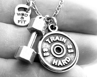 Gym Necklace Dumbbell Medium & Weight Plate Santiago Workout Motivational Gift - Gym Gift- Bodybuilding Necklace- Crossfit Gift- Wod and Fit