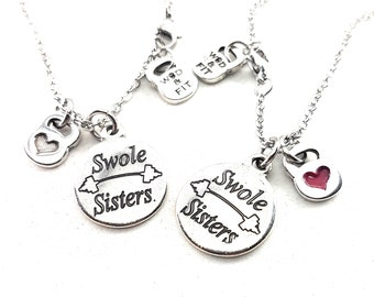 Couple Swole Sisters Necklace & Weight.Fitness Girl,Sisters Gift,Best Sister,BFF,Gifts for sisters,Sisters jewelry,Sisters of battle,Crossfi
