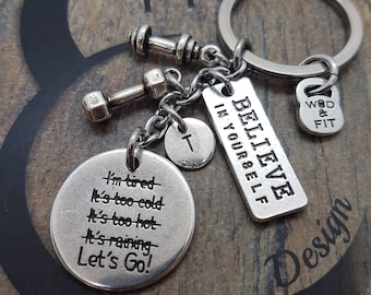 Gym Motivation Gift Keychain I'm STRONGER than my Excuses.Lets Go! Exercise Gift - Fit Girl - Fit Mom -Fitness Gift - Gym Mom - Wod And Fit