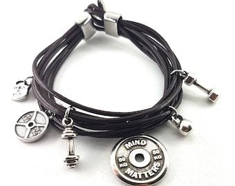 Bracelet Double Under Workout Brown Leather Dumbbell,Motivation,Fitness Bracelet,Bodybuilding,Gym Gift,Motivation,Crossfit Girl Gift,Sport