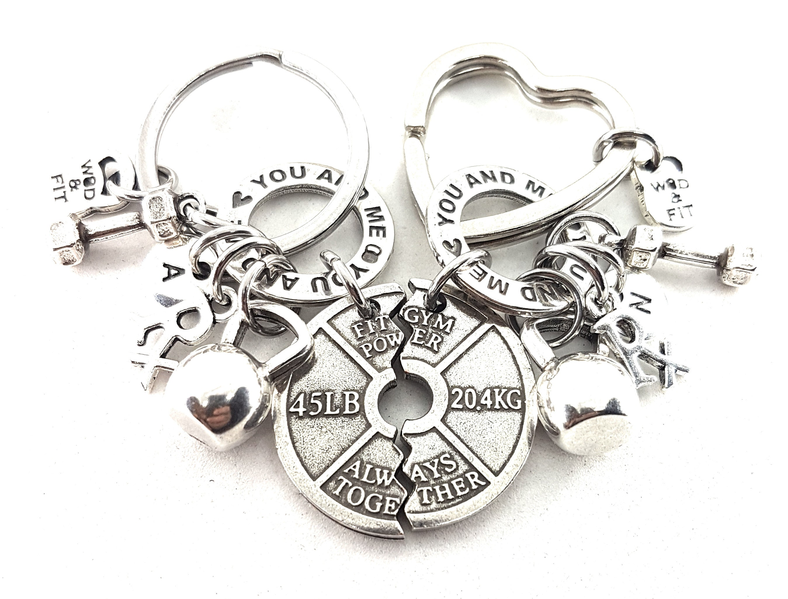 Couple Keychain You and Me FitPlate Always Together Rx
