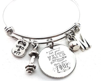 Let your Faith be bigger than your Fear Bracelet,Barbell,Kettlebell & Initial Letter.Fitness,Motivational Gift,Gym Gifts,No Fear,Crossfit