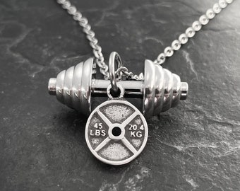 Gym Necklace Power weight lifting Gift Bodybuilding Motivation gift - Fitness Gift - Train Hard - Exercise Gift - Wod & Fit