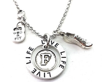 Runner Necklace Motivation Initial Gift - Circle Necklace - runner gifts - Cross Country - 13 1 - 26 2 Runners - Fit Girl - Runner Mom -