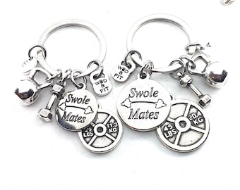 Couple Keychain Swole Mates  & Weight Plate 25lbs+45lbs Initial.Kettlebell,Fitness,BFF Gift,Crossfit,Couples Gift,Bodybuilding,Friends Gift