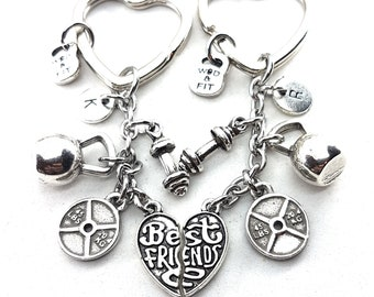 Set 2 Couple Keychains Best Friends - Workout Gift - BFF Gift - Fitness Girl - Cute sister gift - Fitness gifts - Love Gift - Cross Fit Gift