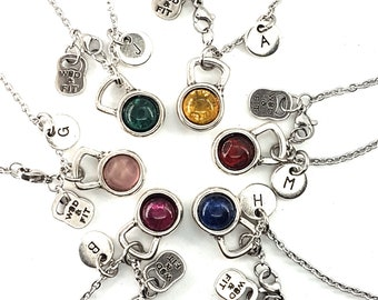 Team Gift Set Necklace Kettlebell Color & Initial Letter.Bodybuilding - Fitness -FitGirl -Fitmom - Crossfit Girl Gift - Kettlebell Pendant