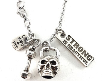 Skull Necklace Kettlebell Skull Workout Gift - Beat Mode - Gym Motivation - Fitness Gifts - Fitness motivation - Skull pendant - Gym Gifts