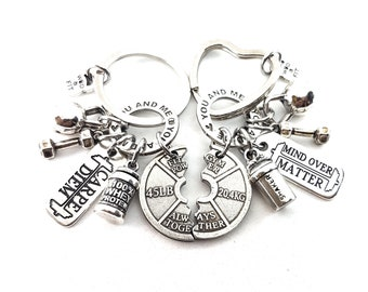 Couple Gym Gift Keychain You & Me Always Together,Saker Protein - Bodybuilding Gift - Custom Gift - Personalized Gift - Crossfit Couple Gift