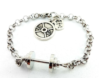 Barbell Bracelet Grace Workout Barbell.Joyas Bodybuilding -Fitmom- Fitness Gift- Gym Gifts - Fit Girl Motivation - Weight Lifting - Crossfit