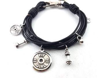 Bracelet Double Under Workout Black Leather Dumbbell,Motivation,Fitness Bracelet,Bodybuilding,Gym Gift,Motivation,Crossfit Girl Gift,Sport
