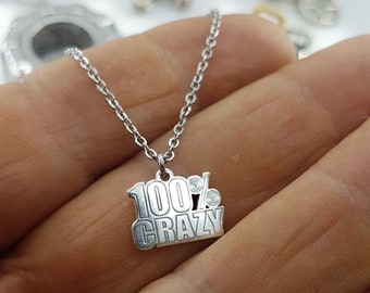 Necklace 100% Crazy Silver Bodybuilding Jewelry,Fitness Jewelry,Coach Gift,Fit Girl Jewels,Gym,Fit Mom,FitGirl Gift,Girl Gift,Woman Gift,Wod