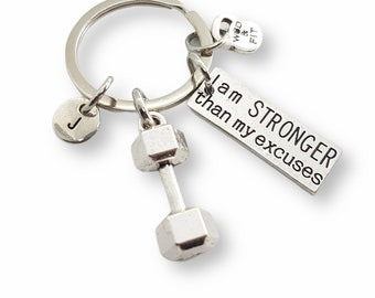 Gym Key ring I Am Stronger Than My Excuses Dumbbell & Initial -Bodybuilding - Cross fit Gift - Trainer Gift - Gym Gifts - Wod and Fit Gift