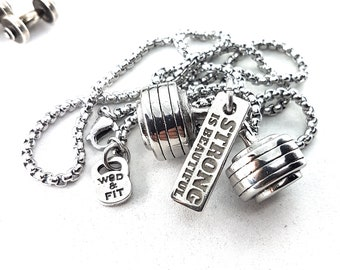 Necklace Bodybuilding Bent Barbell & Motivational Word,Bodybuilder Jewelry,Gym Gift,Fitness Jewels,WeightLifting,Powerlifting Wod and Fit