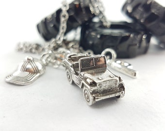 necklace jeep life Cap and initial OIIIIIIO - Off Road Lovers - jeep wrangler- Jeep Girl Gift - 4x4 Off-road - love jeep - jeep girl gifts
