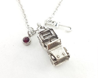Necklace  Off road Girl 4x4 off-road Birthday Stone of the Month & initial Cow Girl - Off Road Lovers- 4x4 Gifts For Her- Off road Gift