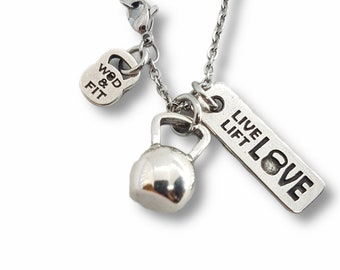 Gym Necklace Kettlebell & Motivation - Workout Gifts - Fitness Gifts- Gym Gift- Crossfit Gift - Fit Girl - Bodybuilding Gift - Wod and Fit