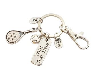 Key ring Padel-Tennis Custom Motivational Word & Initial.Custom Gift- Padel Tennis gift- Gift for Padel - Padel Tennis Coach -Padel Key ring
