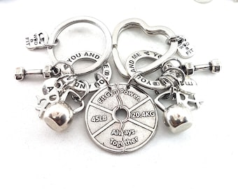 Set 2 Keychain Gym Gift I love my life You & Me Always Together -Workout Gift - Couples Gift - BFF Gift - Weight lifting- I love you jewelry