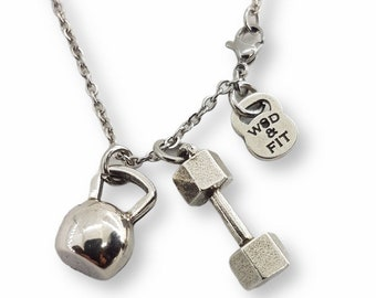 Gym Necklace Dumbbell & Kettlebell - Workout Gifts - Weight Gift- Gym Gift - Bodybuilding- Fitness Gifts- Sport Gift - Exercise -Wod and Fit