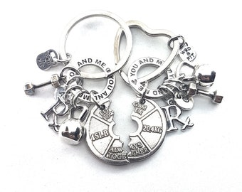 Couples Keychain You and Me Weight Plate Always Together- Workout Gift - Barbell jewelry - Weight lifting Gift - Custom Name - Gym Gifts