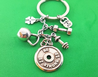 Keychain Lucky Workout.Motivational FitPlate,Kettlebell,Dumbbell Lucky Clover.Fitness Gift,Bodybuilding,Fit Girl,Crossfit Gift,Gym Gifts,Wod